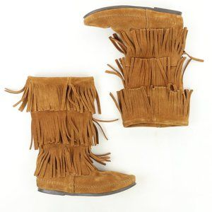 Minnetonka 3-Layer Fringe Boot Brown Suede Leather